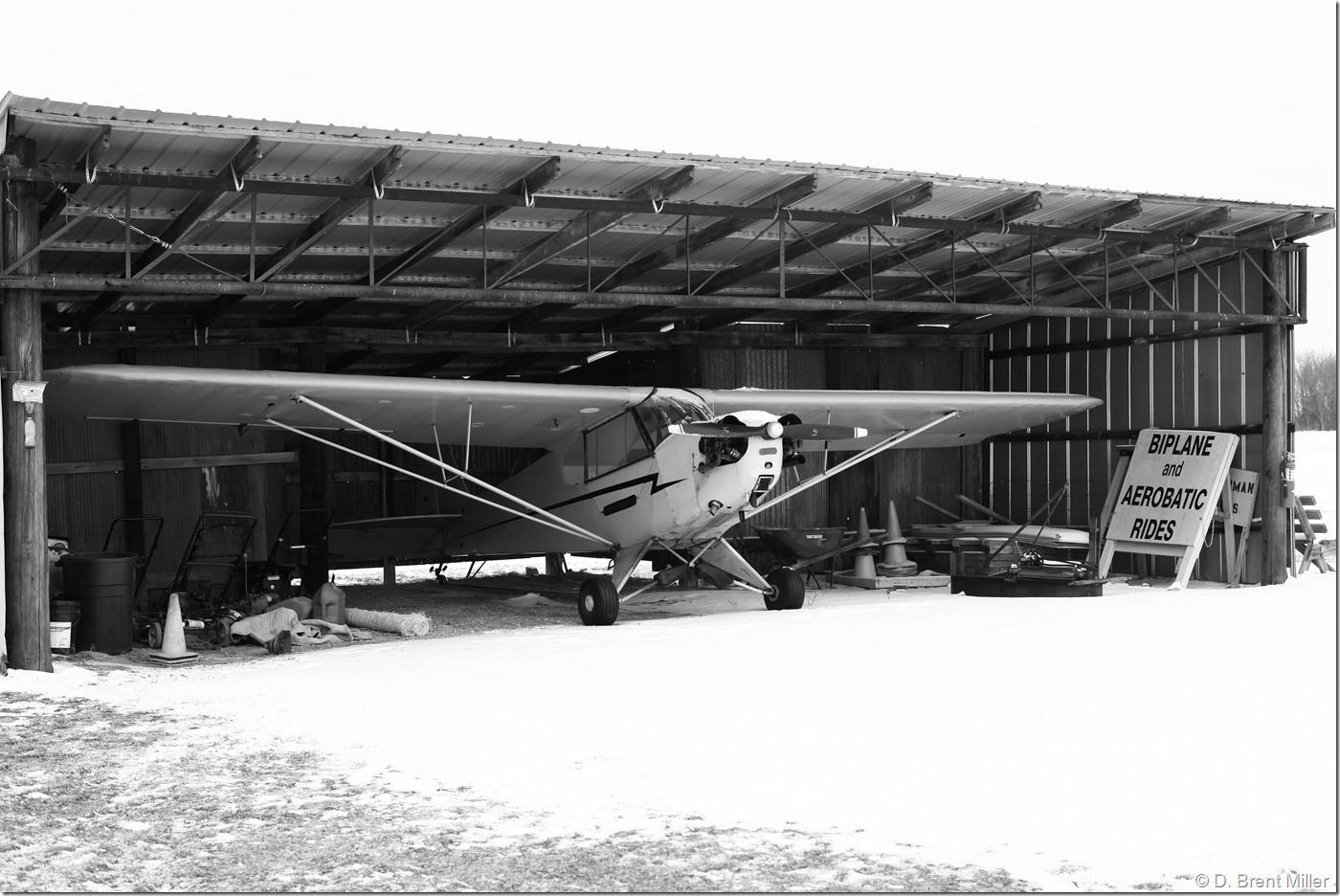 Piper Cub sheltered from the snow